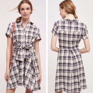 Anthropologie flannel tshirt wrap dress